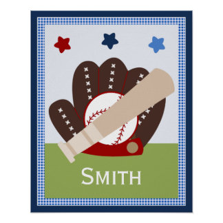 Personalized Varsity Sports Baby Nursery Art Poster