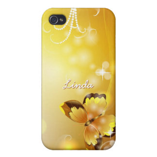 Personalized Very Yellow, Butterfly and Bubbles iPhone 4 Case