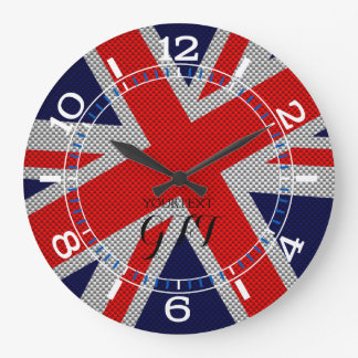 Personalized Vibrant Union Jack on Carbon Style Large Clock