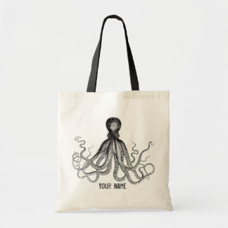 Personalized Victorian Octopus, Steampunk Tote Bag