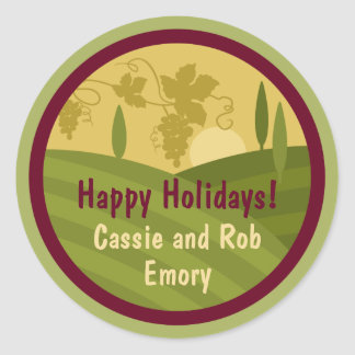 Personalized Vineyard Holiday Wine Label