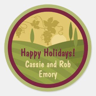 Personalized Vineyard Holiday Wine Label Sticker