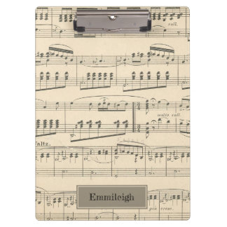 Personalized Vintage Antique Music Clipboard