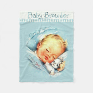 Personalized Vintage Baby Boy  Blue Blanket