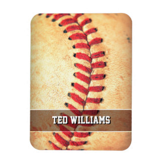 Personalized vintage baseball ball rectangular photo magnet