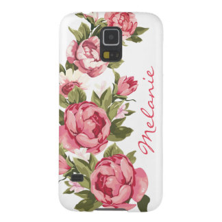 Personalized Vintage blush pink roses Peonies Case For Galaxy S5