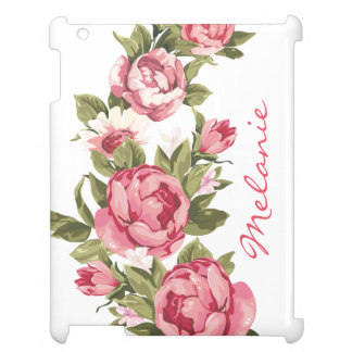 Personalized Vintage blush pink roses Peonies Case For The iPad 2 3 4