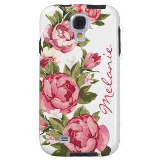 Personalized Vintage blush pink roses Peonies Galaxy S4 Case