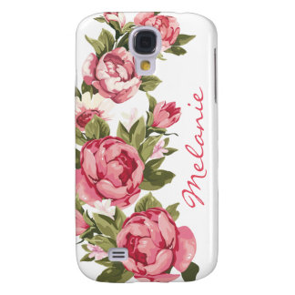 Personalized Vintage blush pink roses Peonies Galaxy S4 Cover
