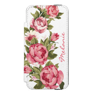 Personalized Vintage blush pink roses Peonies Incipio Watson™ iPhone 5 Wallet Case