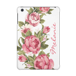 Personalized Vintage blush pink roses Peonies iPad Mini Cover