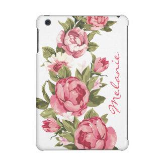 Personalized Vintage blush pink roses Peonies iPad Mini Retina Cover