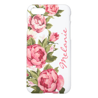 Personalized Vintage blush pink roses Peonies iPhone 8/7 Case