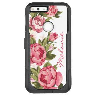 Personalized Vintage blush pink roses Peonies OtterBox Commuter Google Pixel XL Case
