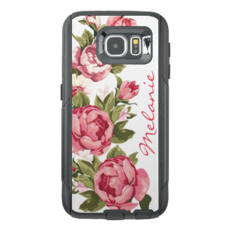 Personalized Vintage blush pink roses Peonies OtterBox Samsung Galaxy S6 Case