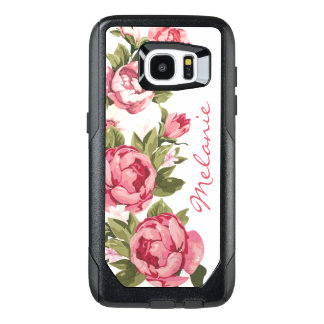 Personalized Vintage blush pink roses Peonies Pers OtterBox Samsung Galaxy S7 Edge Case