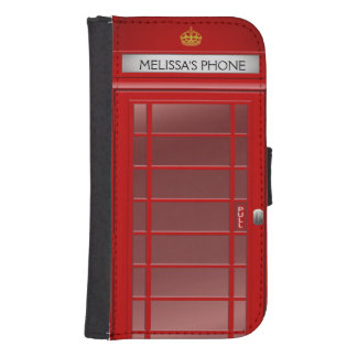 Personalized Vintage British Telephone Booth Galaxy S4 Wallet Case
