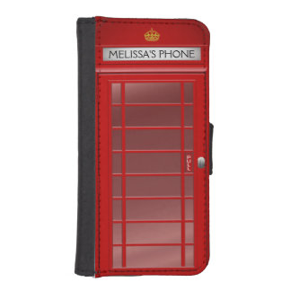 Personalized Vintage British Telephone Booth Phone Wallet Cases