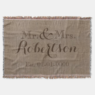 Personalized Vintage Burlap-Look Rustic/Wedding