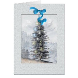 Personalized Vintage Christmas Tree Greeting Card