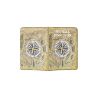 Personalized Vintage Compass and World Map Passport Holder
