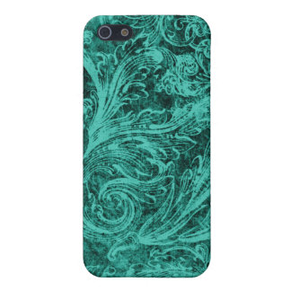 Personalized Vintage Damask Blue iPhone 5/5S Cases