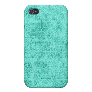 Personalized Vintage Damask Blue Covers For iPhone 4