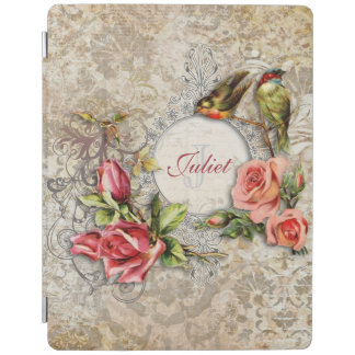 Personalized Vintage Damask Rose iPad Cover