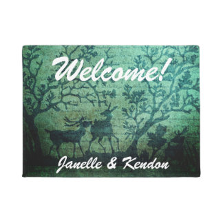 Personalized Vintage Deer in Forest Doormat
