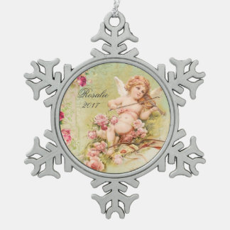 Personalized Vintage Floral Angel playing Violin Snowflake Pewter Christmas Ornament