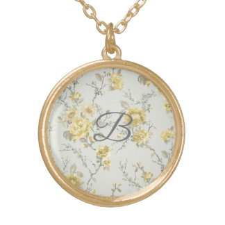 Personalized Vintage Floral Monogram Necklace