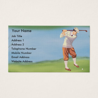 Personalized Vintage Golfer by the Riverbank Business Card