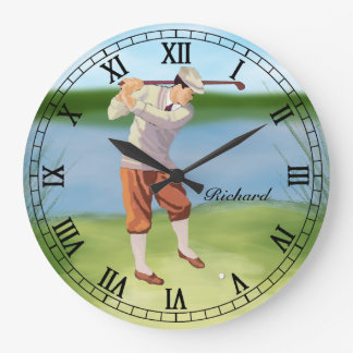 Personalized Vintage Golfer by the Riverbank Large Clock