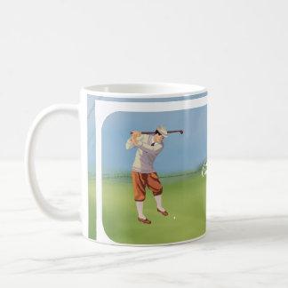 Personalized Vintage Golfer by the Riverbank Basic White Mug