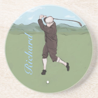 Personalized vintage golfer coasters