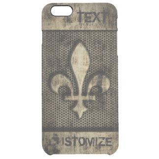 Personalized Vintage Grunge Fleur De Lis Clear iPhone 6 Plus Case