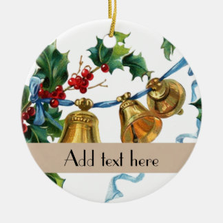 Personalized vintage holly bells Xmas decorations