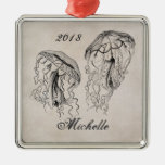 Personalized Vintage Jellyfish Beach Ornament