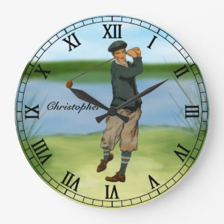 Personalized Vintage look Golfer Golf  swing Wall Clock