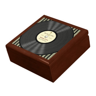 Personalized Vintage Microphone Vinyl Record Gift Box