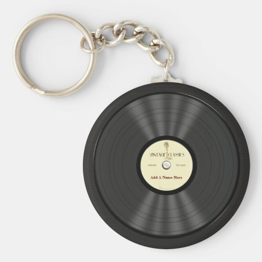 Personalized Vintage Microphone Vinyl Record Keychain