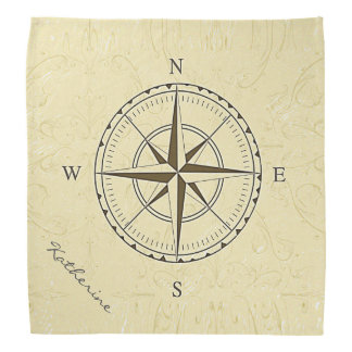 Personalized Vintage Nautical Compass Rose Ivory Bandana