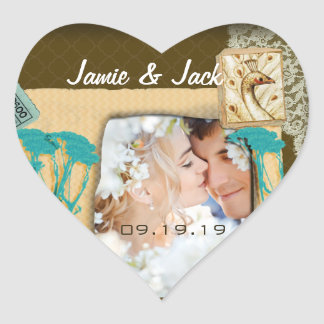 Personalized Vintage Photo Collage Heart Sticker