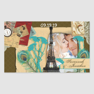 Personalized Vintage Photo Collage Rectangular Sticker