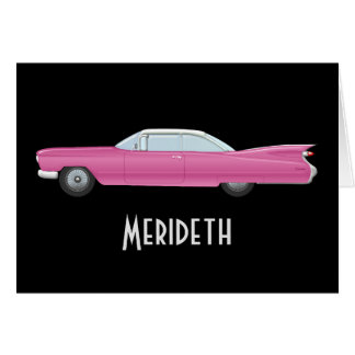 Personalized Vintage Pink Cadillac Note Cards