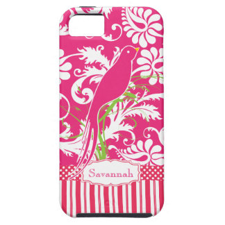 Personalized Vintage Pink Damask Love Bird iPhone 5 Cases