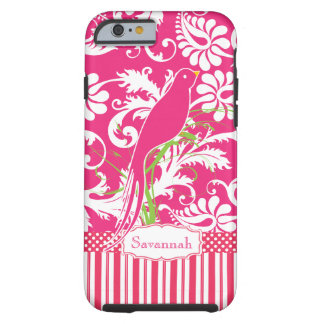 Personalized Vintage Pink Damask Love Bird Tough iPhone 6 Case