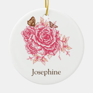 Personalized Vintage Pink Rose Flower Butterf Ceramic Ornament
