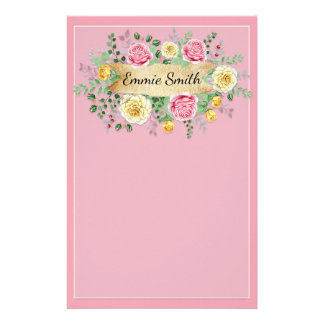 Personalized Vintage Pink Yellow Floral Greenery Stationery