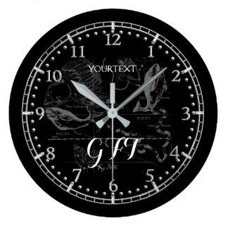 Personalized Vintage Pisces Constellation Zodiac Large Clock